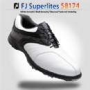 FJ Superlites #58174 White Smooth/Black Smooth/Charcoal Textured Underlay Golf Shoes