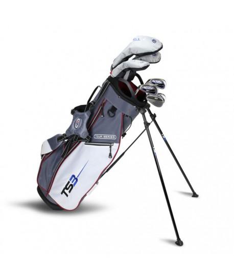 TS3-60 LH 7 Club Set, Combo Shafts, Grey/White/Maroon Bag