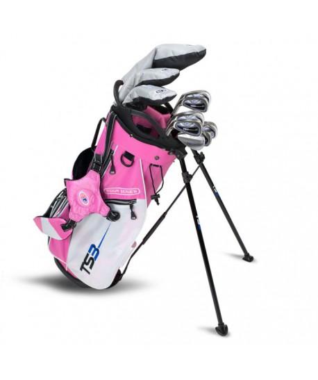 TS3-51 LH 10 Club Set, Graphite Shafts, Pink/White Bag